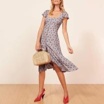 Sexy Square Collar French Floral Dress