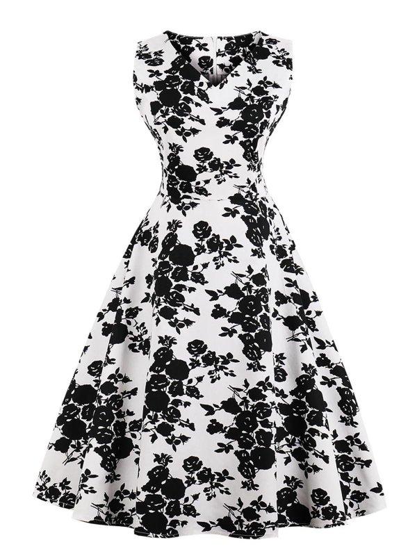1950s Floral Polka Dot Swing Dress