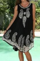 Fashion Printed Round Neck Sleeveless Loose Dresses