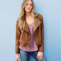 Khaki Oblique Zipper Lapel Short Jacket Coat