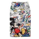 Cartoon Mouse Print High Waist Slim Skirts Women's Pencil skirt 2020 New Young Girl Summer Large Size Japan Female Falda SP534