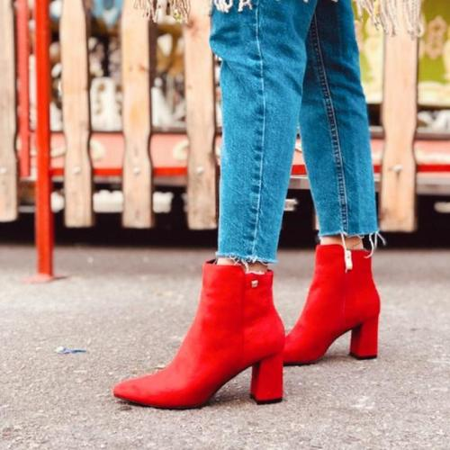 Women's Fashion Solid Color Suede Side Zip Ankle Boots
