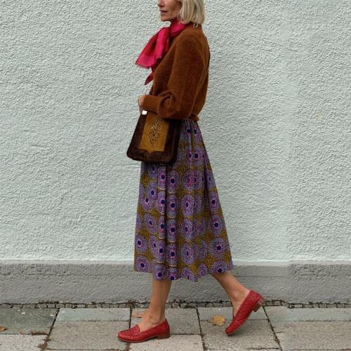 Ladies Fashion Casual Nordic Vintage Style Print Skirt RY58