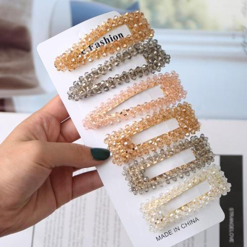 Fashion Women Rhinestone Hair Clips Full Crystal Hairclip Metal Ponytail Holder Hairpins BB Hairgrip Girls Hair Accessories