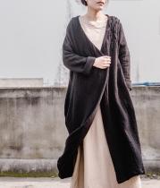 Cotton and Linen Long Black Cardigan
