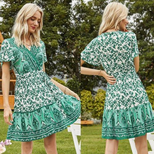 Women's Printed Floral V-Neck Elastic Waist Holiday Casual Dress Green