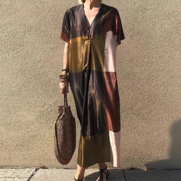 V-Neck Short Sleeve Color Block Loose Vacation Dress