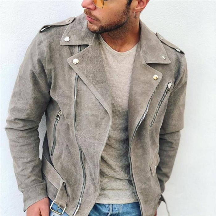 Men's fashion solid color lapel zipper jacket