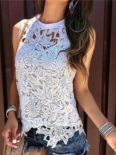 Sexy Sleeveless Round Necked Lace Shirt