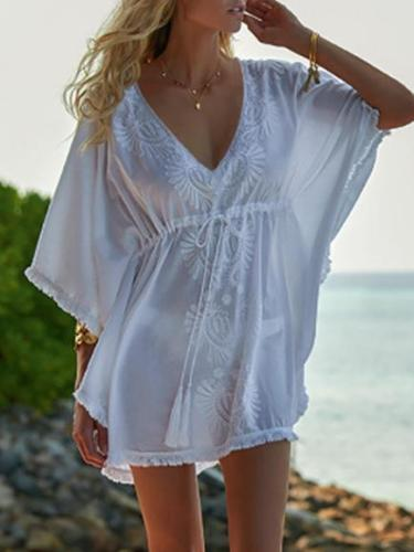 Plus Size Loose With Drawstring Waist Cover-ups Swimwear