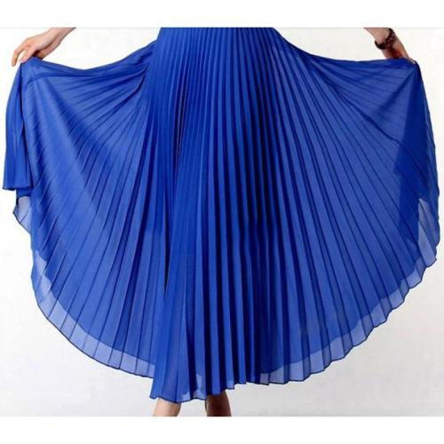 Anasunmoon Spring Bohemian Pleated Maxi Skirts Womens Summer Solid Color High Waist Chiffon Long Skirt Tutu Elegant Ladies Black
