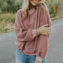 Casual Round Neck Pure Colour Loose Woolen Sweater