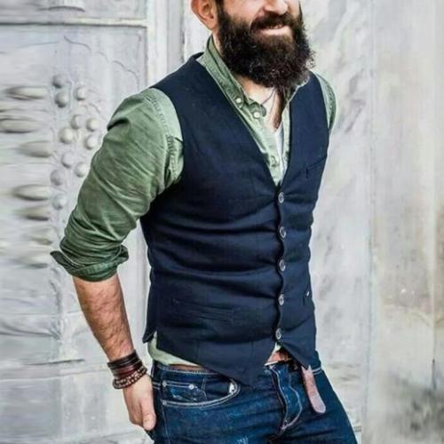 Casual Solid Color Split Button Vest