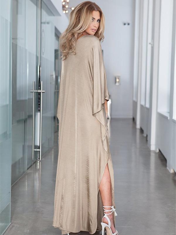 Original Loose Solid V-neck bandage Sun-protection Dress