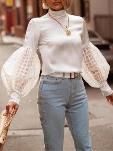 Women's fashion bubble sleeve high collar Blouse