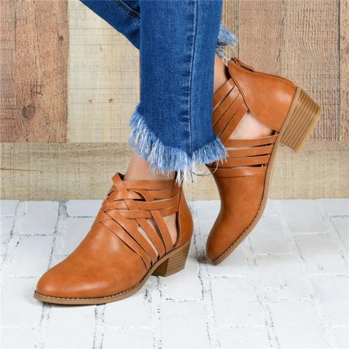 Euramerican Style Hollow Round Toes Ankle Boots