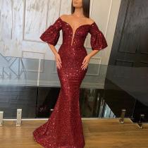Sexy Deep V Sleeve Sequined Evening Dress