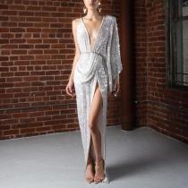 Sexy V Neck Off-Shoulder Slit Elastic Dress