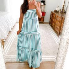 EBUYTIDE Elegant Striped Sling Vacation Dress