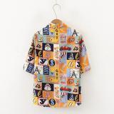 Harajuku Blouses Retro Loose Print Shirts Women Casual Short Sleeve Loose Lapel Shirt Top