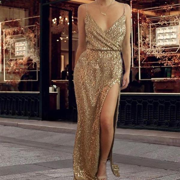 Vintage Sexy V-neck Sequin Party Dress