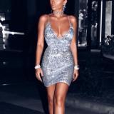 Sexy V-neck Slip Paillette Silver Bodycon Dress
