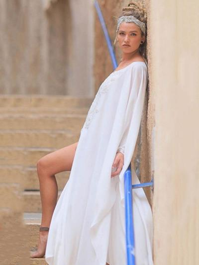 Plus Size Loose Solid White See-through Cover-ups