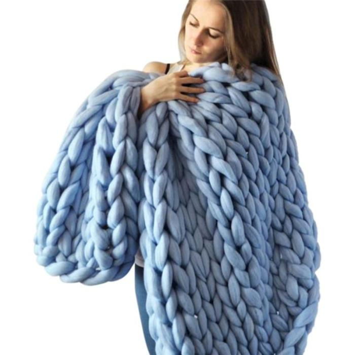 Hand-knitted Chunky Wool Knitted Blanket Thick Yarn Wool Bulky Knitting Throw Blankets Thick Bulky Sofa Throw Blanket