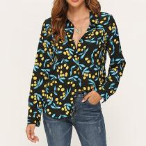 Casual Printed Colour Loose Blouse