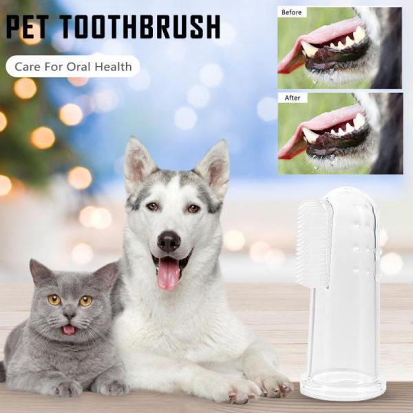 5pcs Transparent Super Soft Pet Finger Toothbrush Teddy Dog Brush Bad Breath Tartar Teeth Tool Dog Cat Cleaning Supplies