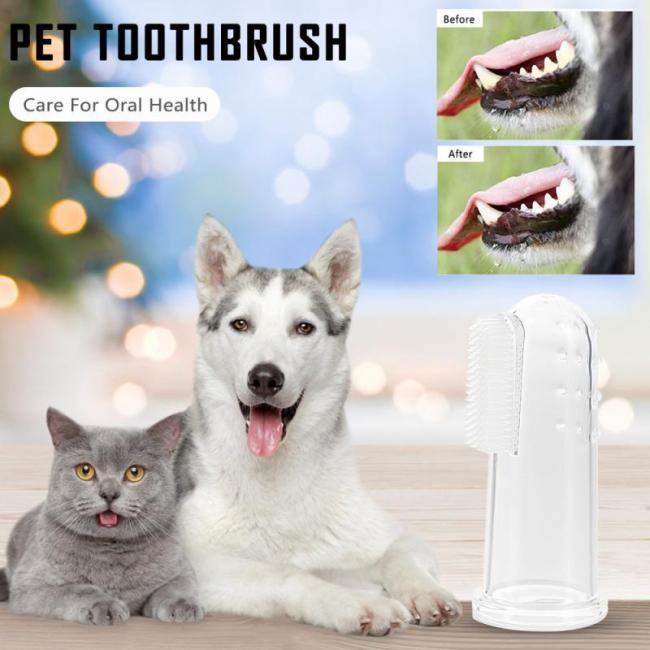 5pcs Transparent Super Soft Pet Finger Toothbrush Teddy Dog Brush Bad Breath Tartar Teeth Tool Dog Cat Cleaning Supplies