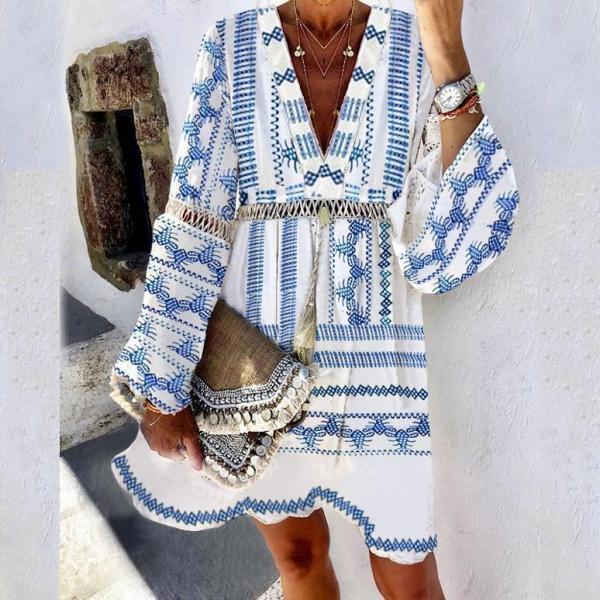 Joyful Days Blue Print Mini Dress
