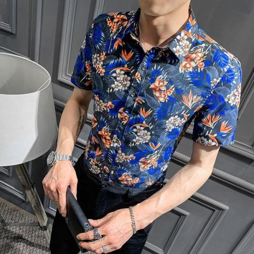 Fashion Printed Colour Slim Fit Short Sleeve Blouse
