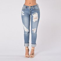 Fashion Baggy Nine - Point Hem Jeans