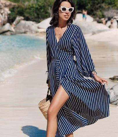 Elegant Striped V Neck Long Sleeve Beach Dresses