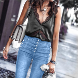 Fashion High Waist Double Breasted Calf Jeans
