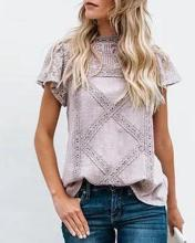 Solid Short Sleeve Lace Top