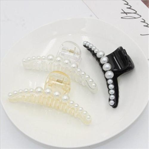 Hot Sale 1pcs Imitation Pearl Hair Claw 3 Colors 2 Sizes For Choice Plastic Hairpin For Mature Women Girls Simple Headwear