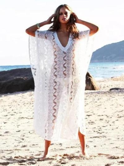 Printed Lace V-Neck Plus Size Cover-Ups Swimwear