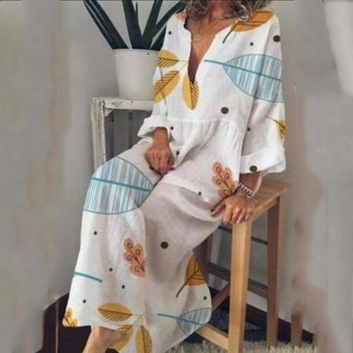 Split Neck  Printed Maxi Dress