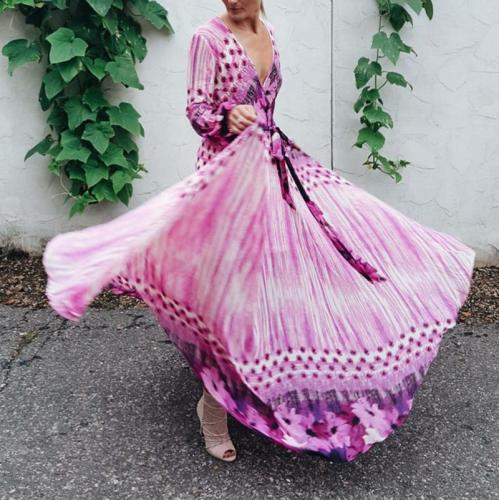 Bohemian Printed Colour Chiffon V Neck Belted Long Sleeve Dress