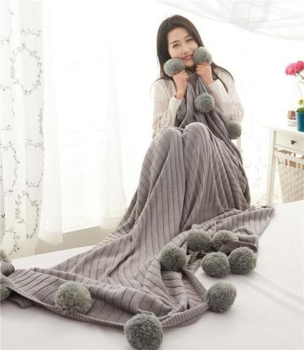 Drop shipping Plaids explosion Pink Cotton knitted blanket throw cobertor Knit Ball blankets bed sofa cover mantas 130*170cm
