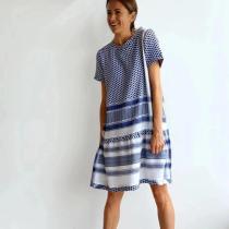 Simple Casual Blue Printed Loose Mini Dress