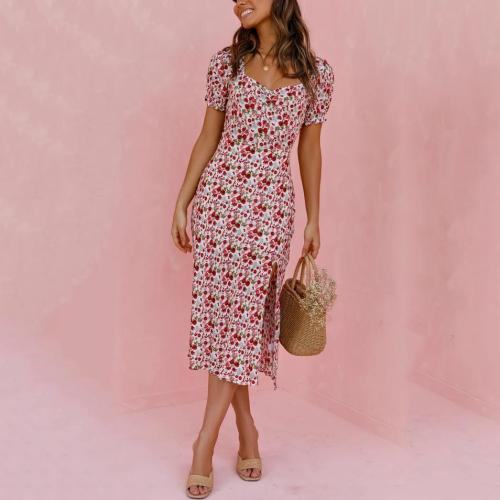 Vacation Floral Print Short Sleeve Midi Dress