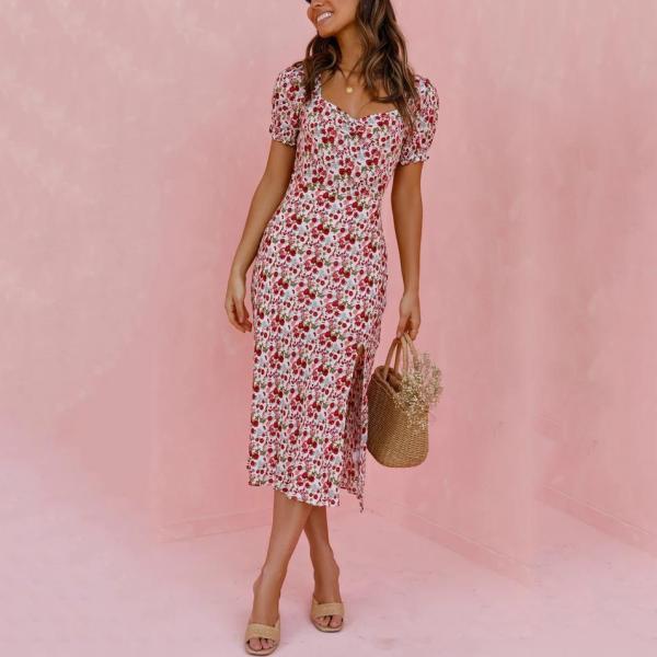 Vacation Floral Print Short Sleeve Midi Dress