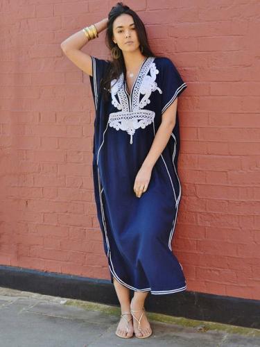 V-neck Loose Printed Bohemia Dresses