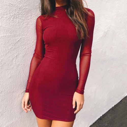 Solid Color High Neck Mesh Patchwork Slim Bodycon Women Short Dress