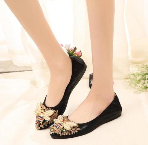 Plus Size Crystal Woman Flat Shoes Elegant Comfortable Rhinestone Soft Flats