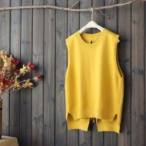 Large Size Winter Women's Sweet Japanese Solid Color Back Straps Hollow Short Short Vest Sweater