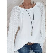 Decorative Lace Plain Long Sleeve Blouses